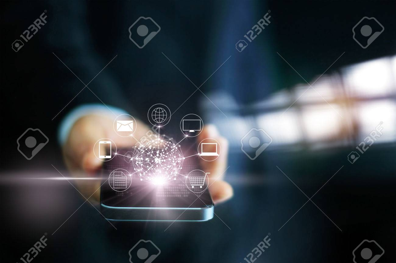 Man using mobile payments, holding circle global and icon customer network connection, Omni Channel Standard-Bild - 66776402