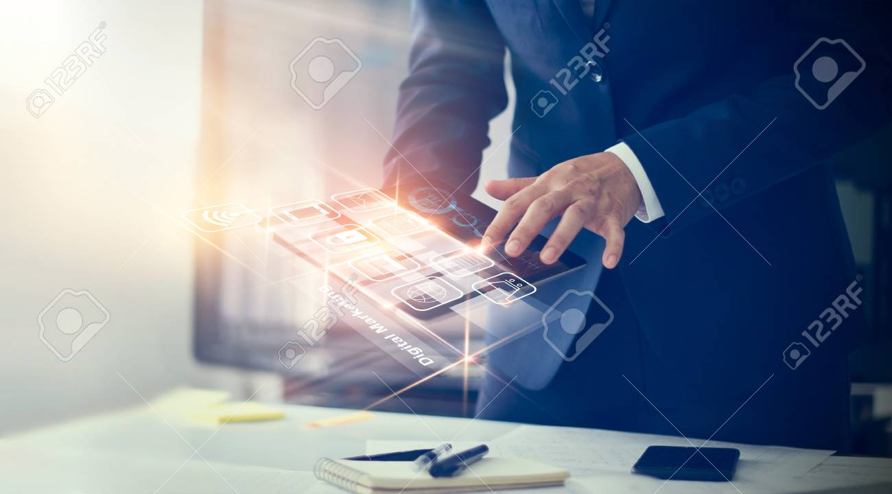 Digital marketing. Businessman using modern interface payments online shopping and icon customer network connection on virtual screen. Business innovation technology concept - 98722856