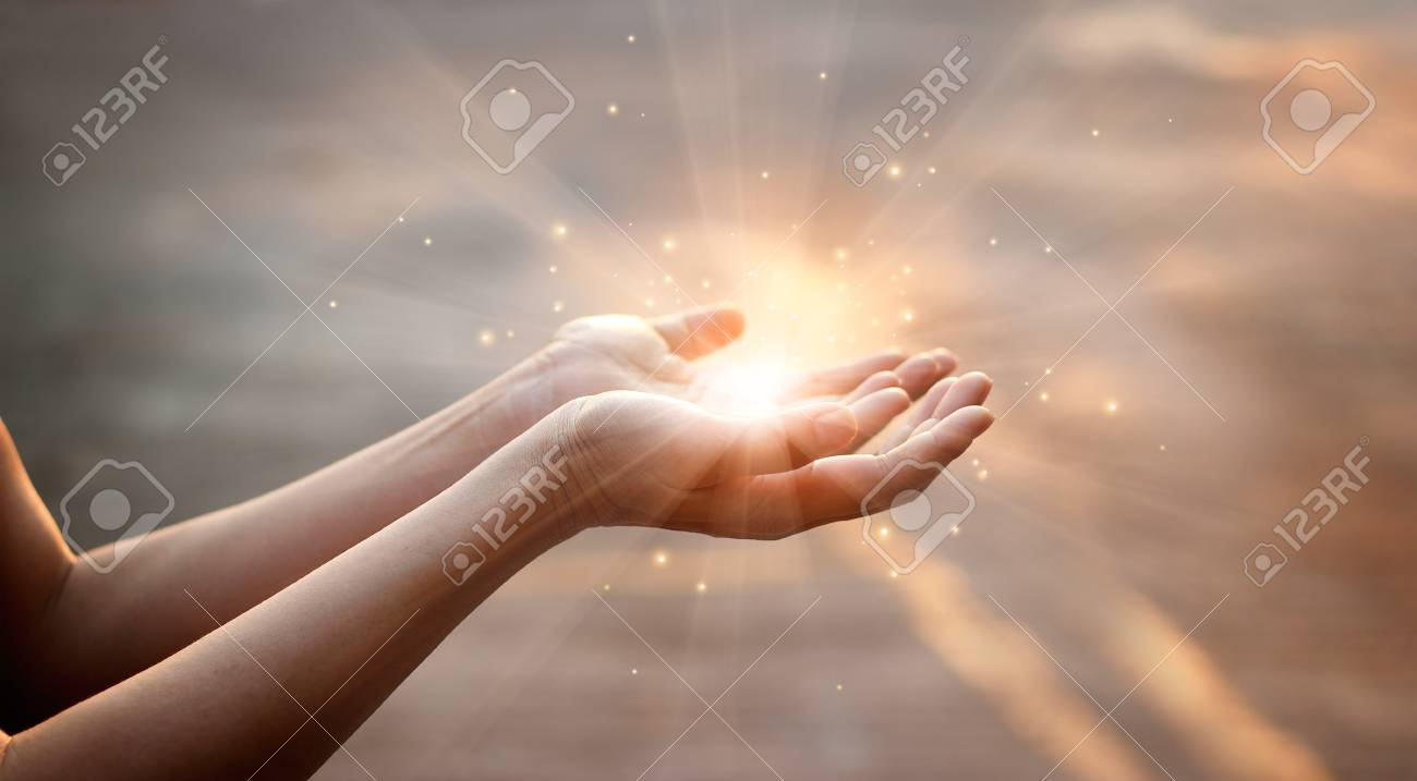 Woman hands praying for blessing from god on sunset background - 99458699