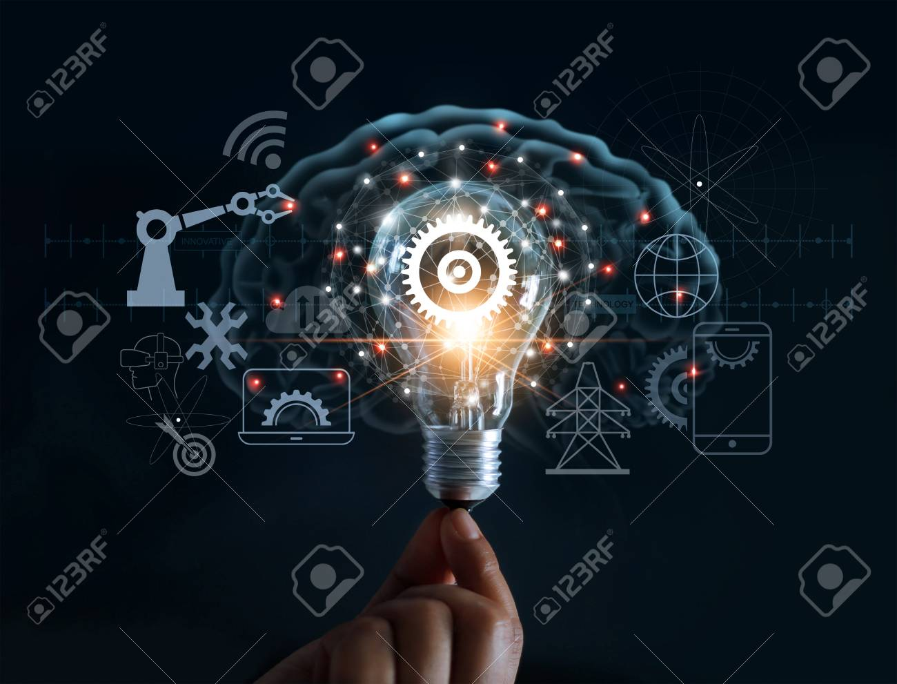 Hand holding light bulb and cog inside and innovation icon network connection on brain background, innovative technology in science and industrial concept - 102231232