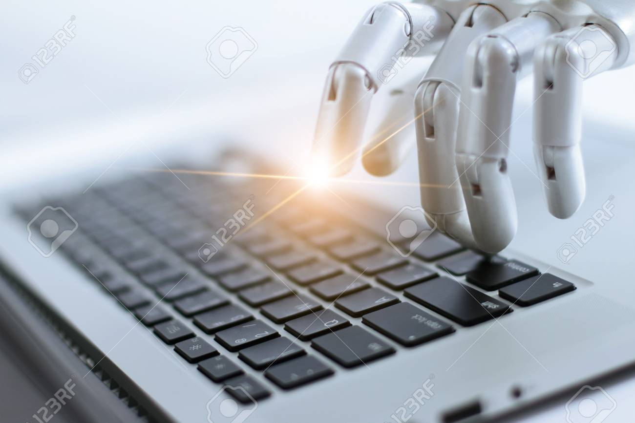 Robot finger point and working to laptop keyboard button, AI, Artificial Intelligence, Robotic hand on digital gray background. Futuristic technology concept. - 106927225