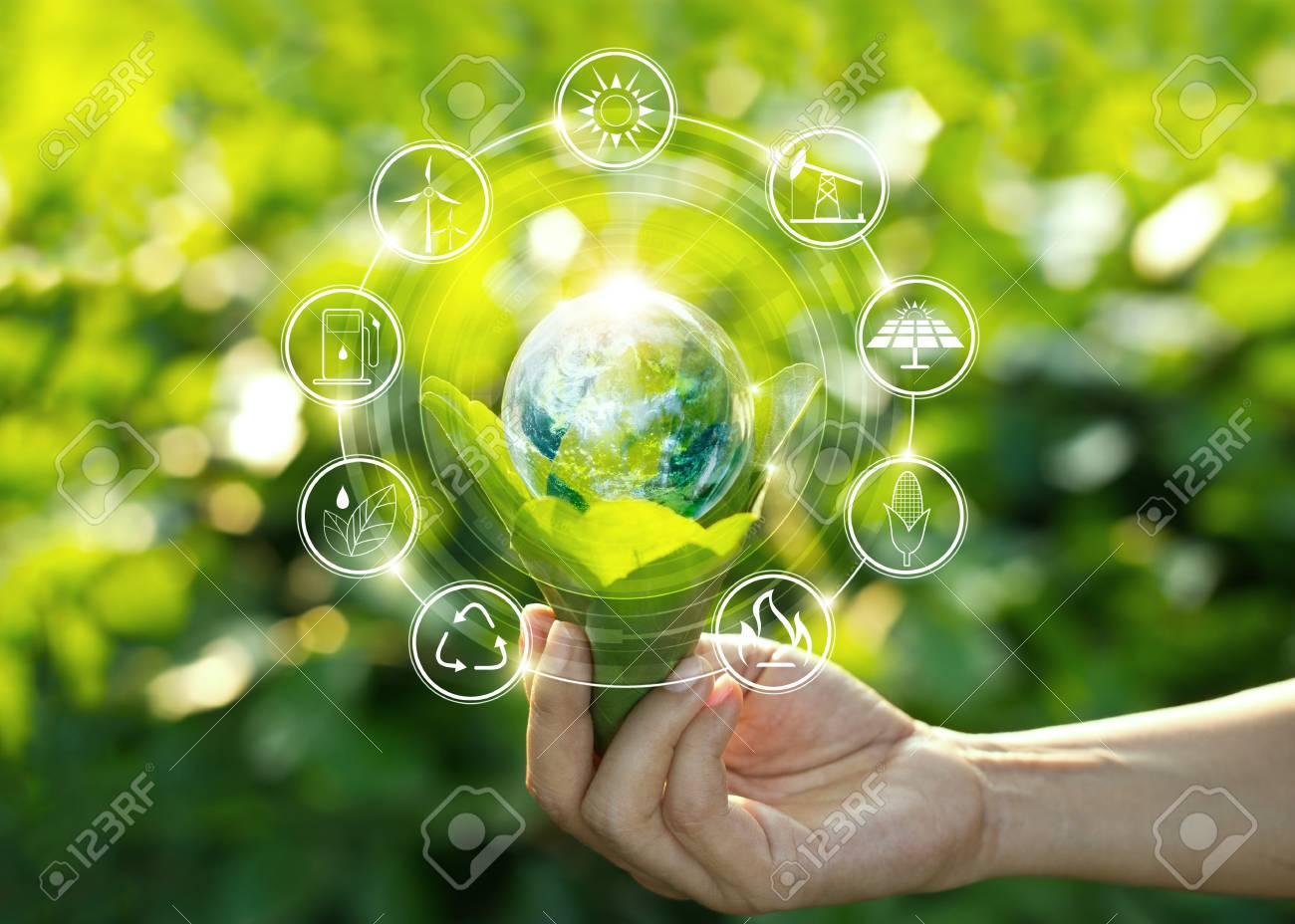 Hand holding light bulb against nature on green leaf with icons energy sources for renewable, sustainable development. Ecology concept. Elements of this image furnished by NASA. - 106927248