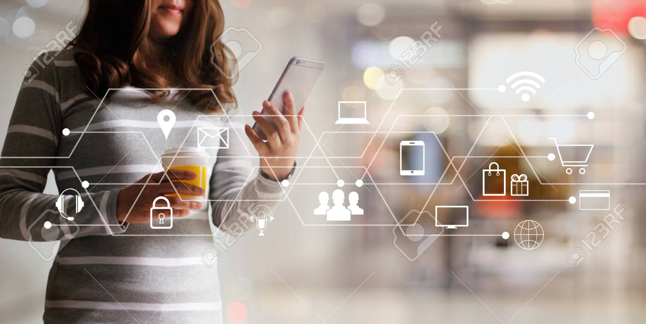 Woman using mobile payments online shopping and icon customer network connection. Digital marketing, m-banking and omni channel. - 106927249