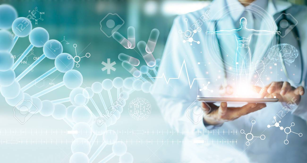 Medicine doctor touching electronic medical record on tablet. DNA. Digital healthcare and network connection on hologram modern virtual screen interface, medical technology and network concept. - 109472191