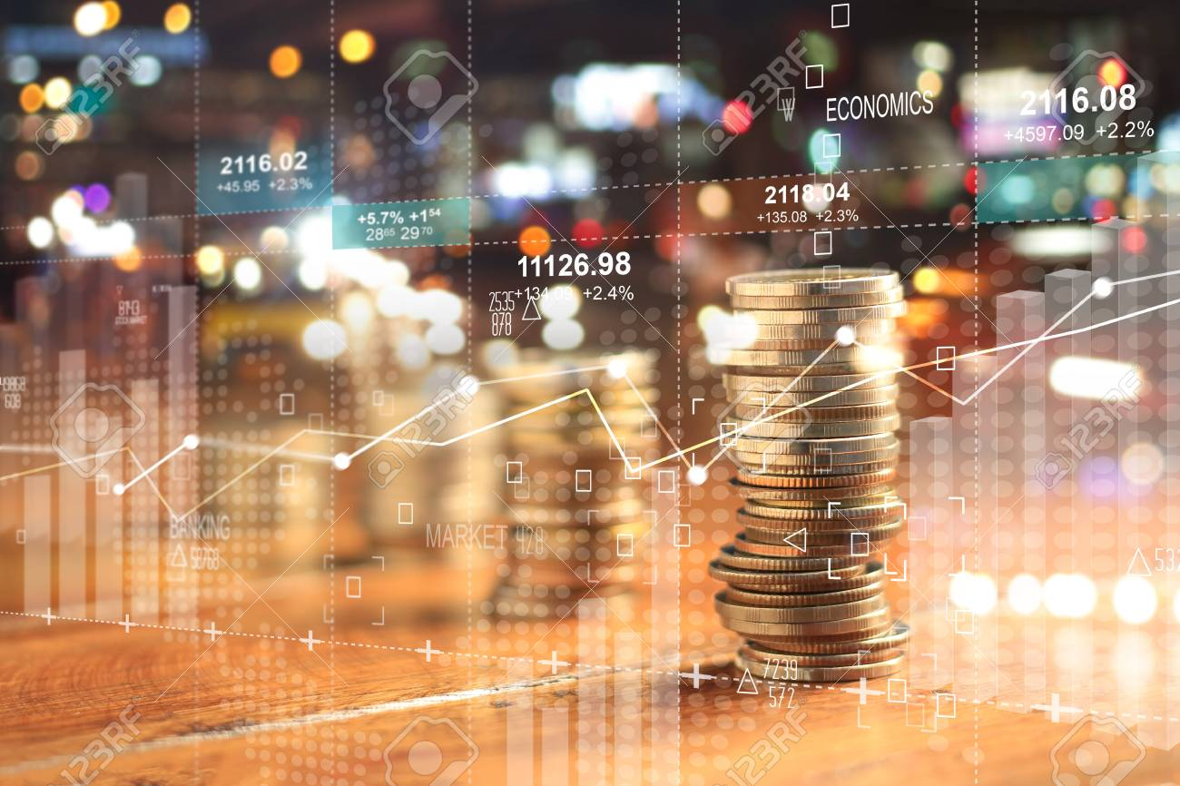Double explosure with businesss charts of graph and rows of coins for finance at night city background. - 109472549