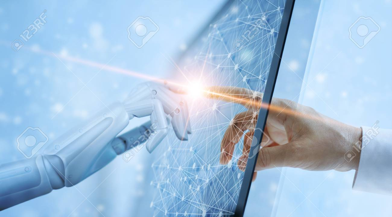 Hands of robot and human touching on global virtual network connection future interface. Artificial intelligence technology concept. - 109472554