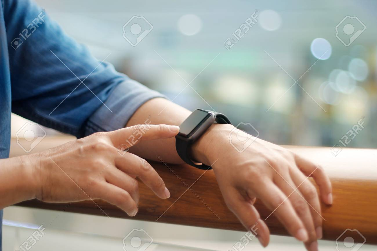 Men hands touch and setting smart watch, modern life, business and technology concept. - 119057897