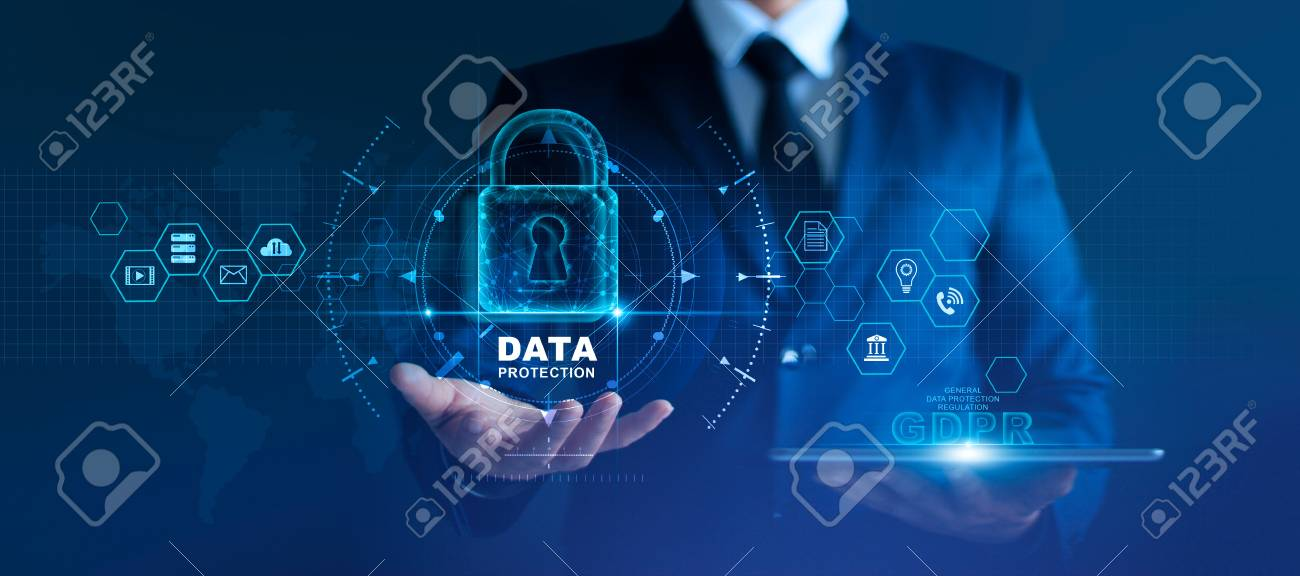 Data protection privacy concept. GDPR. EU. Cyber security network. Business man protecting data personal information on tablet and virtual interface. Padlock icon and internet technology networking connection on digital - 126271239