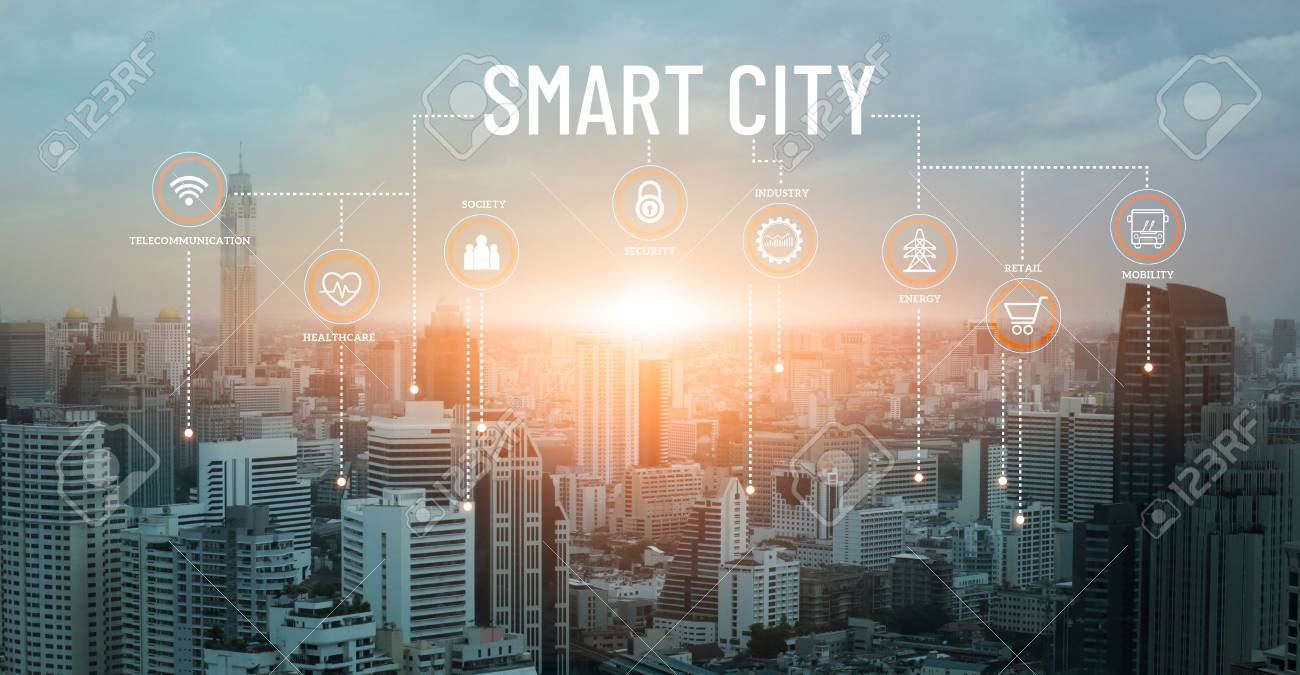 Smart city with smart services and icons, network connection and augmented reality, internet of things, communication, sunset background. - 126271346