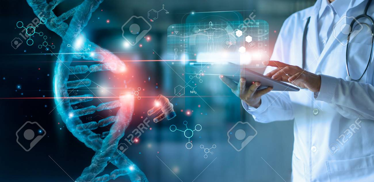 Abstract luminous DNA molecule. Doctor using tablet and check with analysis chromosome DNA genetic of human on virtual interface. Medicine. Medical science and biotechnology. - 126271924