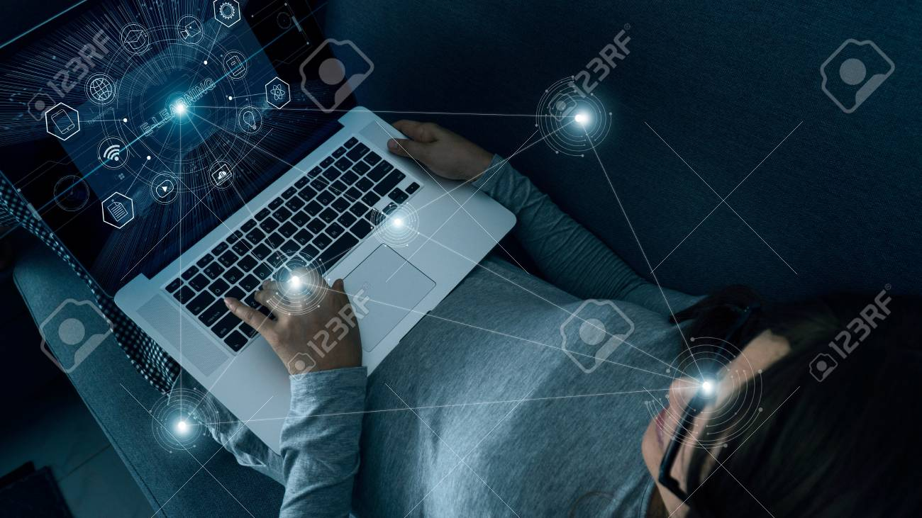 E-Learning with abstract woman using a laptop at home on digital interface. Online education, innovation, icon and media infomation on network connection, futuristic technology. - 126271925