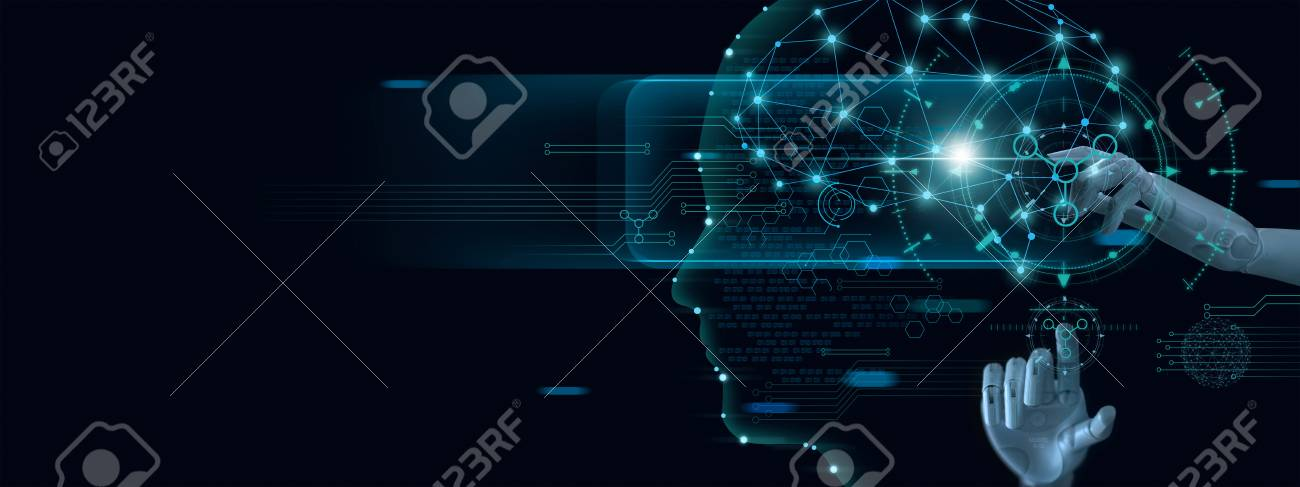 Machine learning. Hand of robot touching on binary data. Futuristic Artificial intelligence (AI). Deep Learning. Brain representing. Algorithm and innovative. Neural Network. Big data visualization. - 126272143