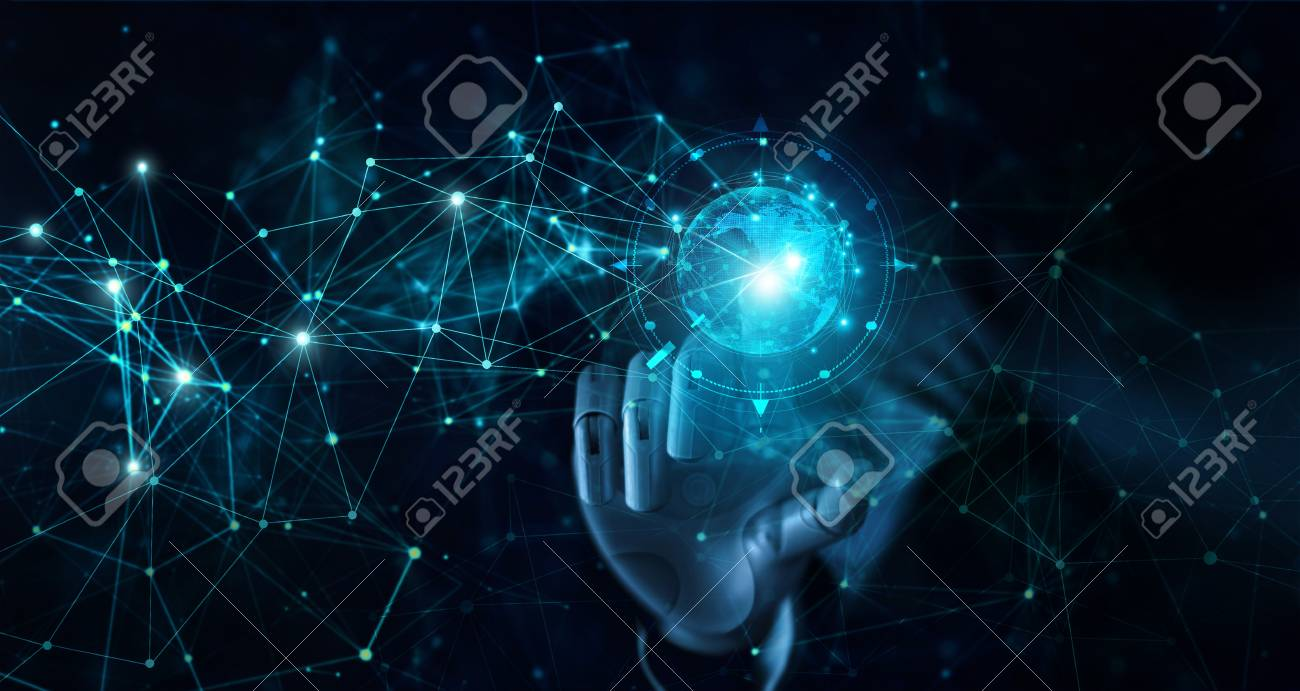 Hand of robot touching global futuristic network connection. AI, artificial intelligence, Iot, innovation and technology. - 126272195