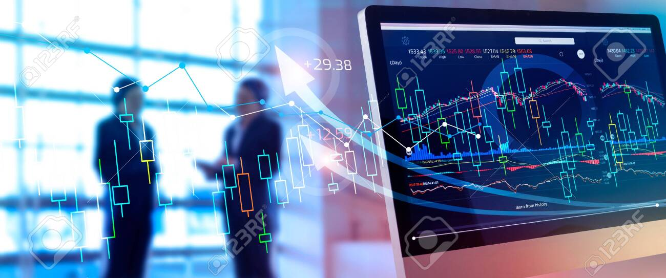 Investing and stock market gain and profits with graph charts, diagrams, growth, financial figures and investor business - 128381308