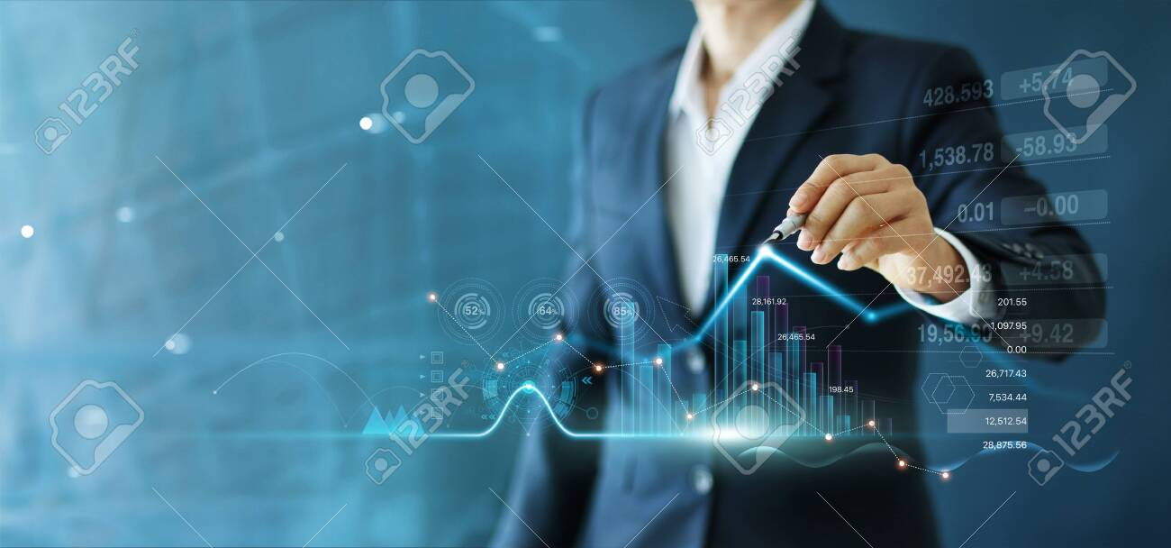 Businessman draw growth graph and progress of business and analyzing financial and investment data ,business planning and strategy on blue background. - 132526715