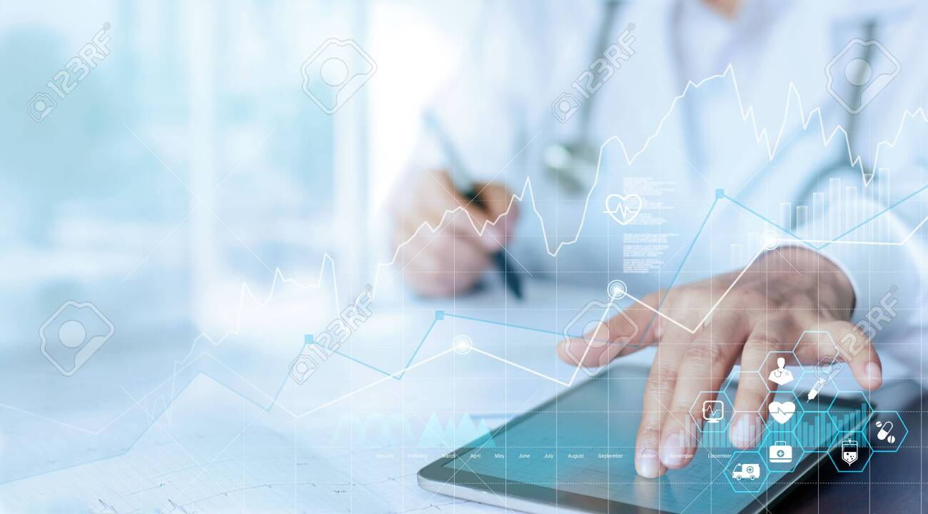 Healthcare business graph data and growth, Medical examination and doctor analyzing medical report network connection on tablet screen. - 133305632