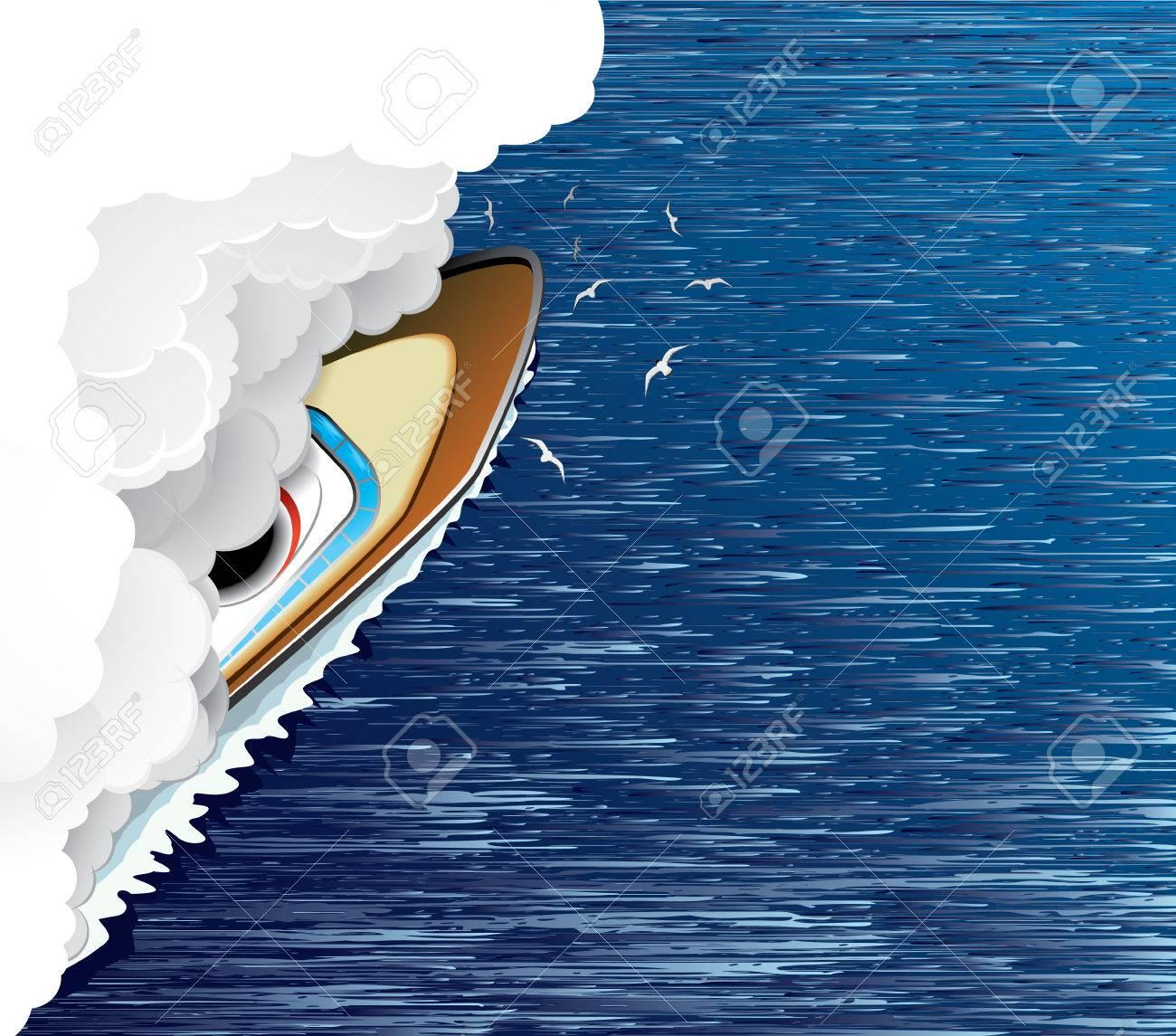 Sailing ship and white smoke(vector, CMYK) Stock Vector - 5623516