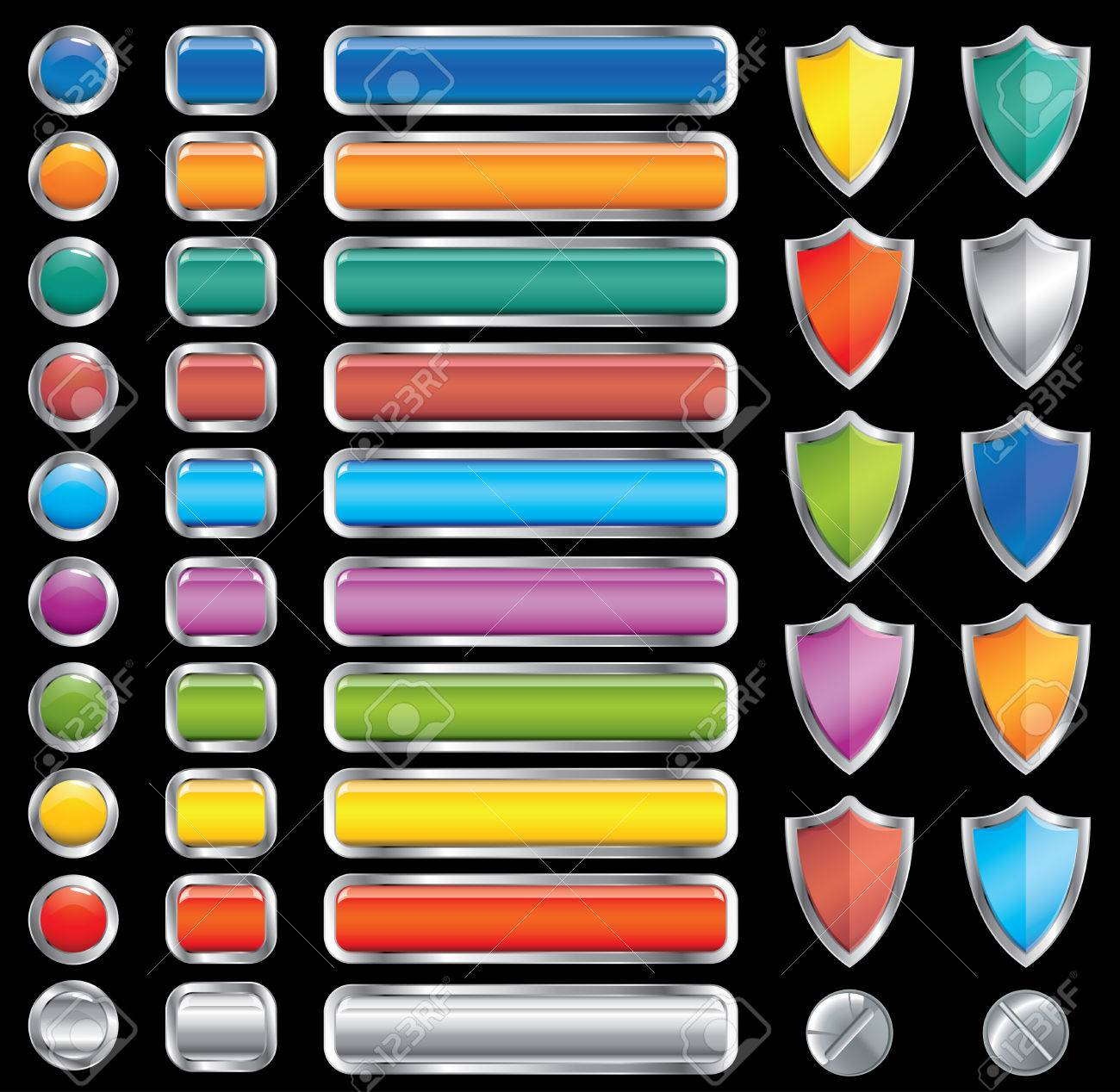 motley buttons, shields and screw set (vector,CMYK) Stock Vector - 6564527