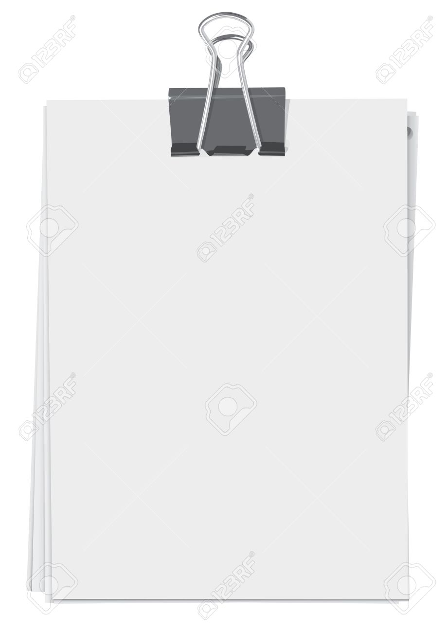 binder clip and stack of paper sheets royalty free cliparts, vectors
