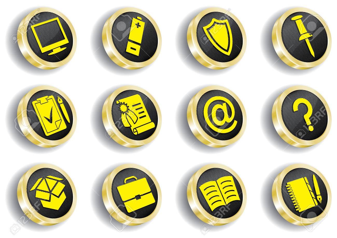 golden web icon set ( CMYK) Stock Vector - 7086284