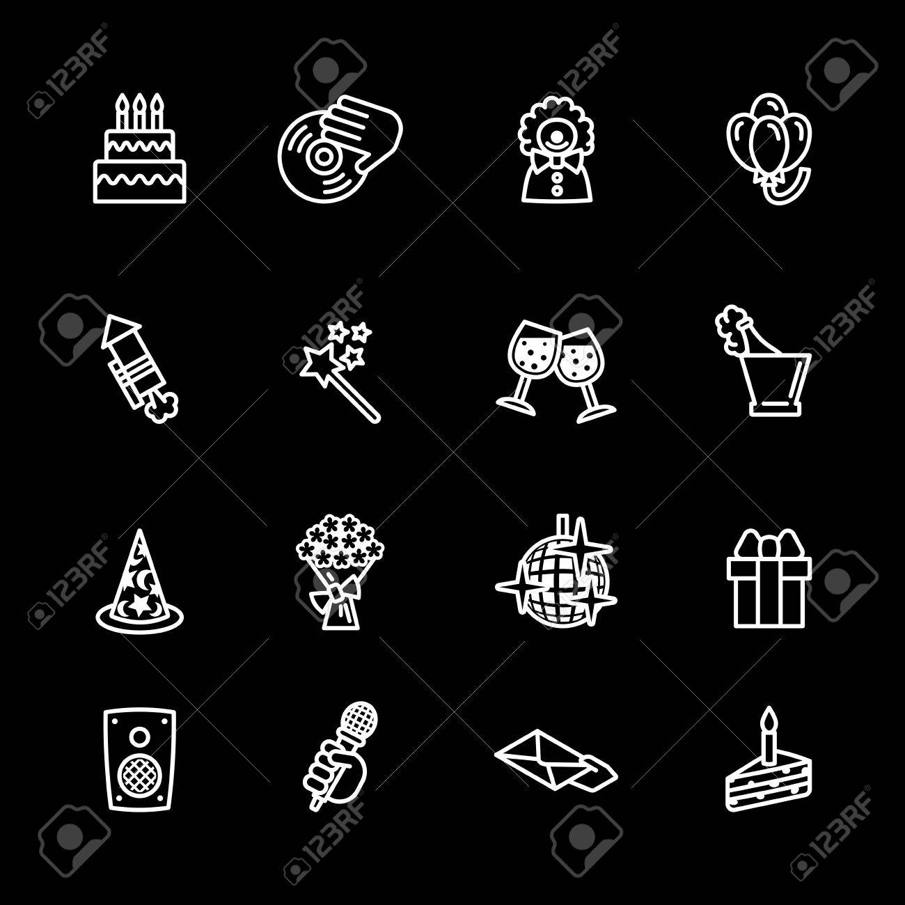 birthday icons set Stock Vector - 16268798