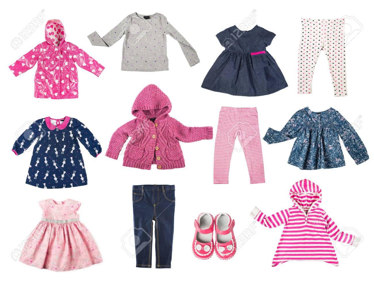 Conjunto De Diferentes Prendas De Vestir De Los Niños Camisas Chaqueta Camisa Pantalones Zapatos Vestidos Armario Del Bebé Aislado En El Fondo