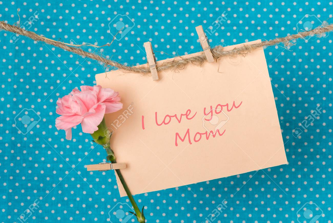 Greeting card to mothers day with pink carnation and the greeting card to mothers day with pink carnation and the inscription i love you mom stock m4hsunfo