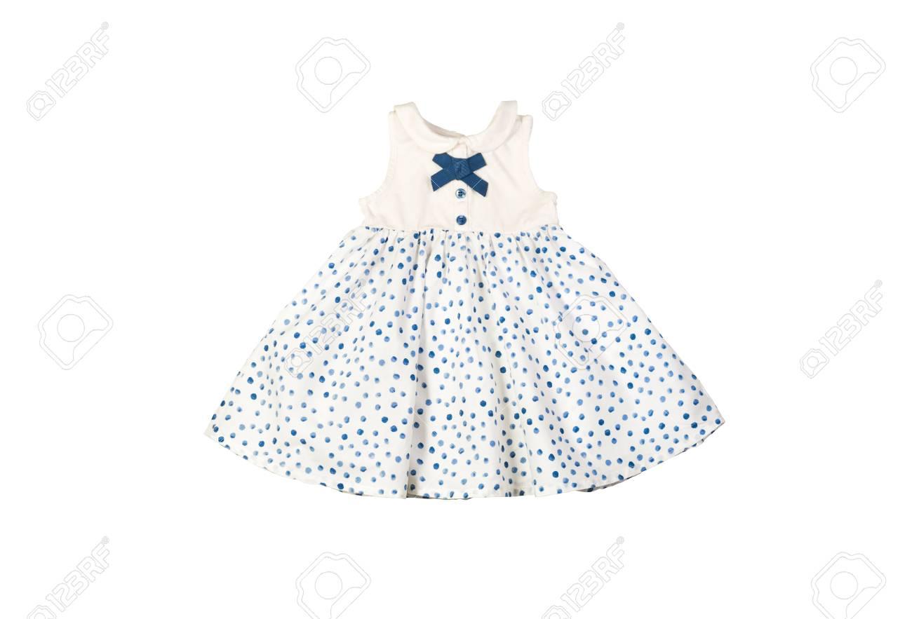 Vestido blanco con lunares azules