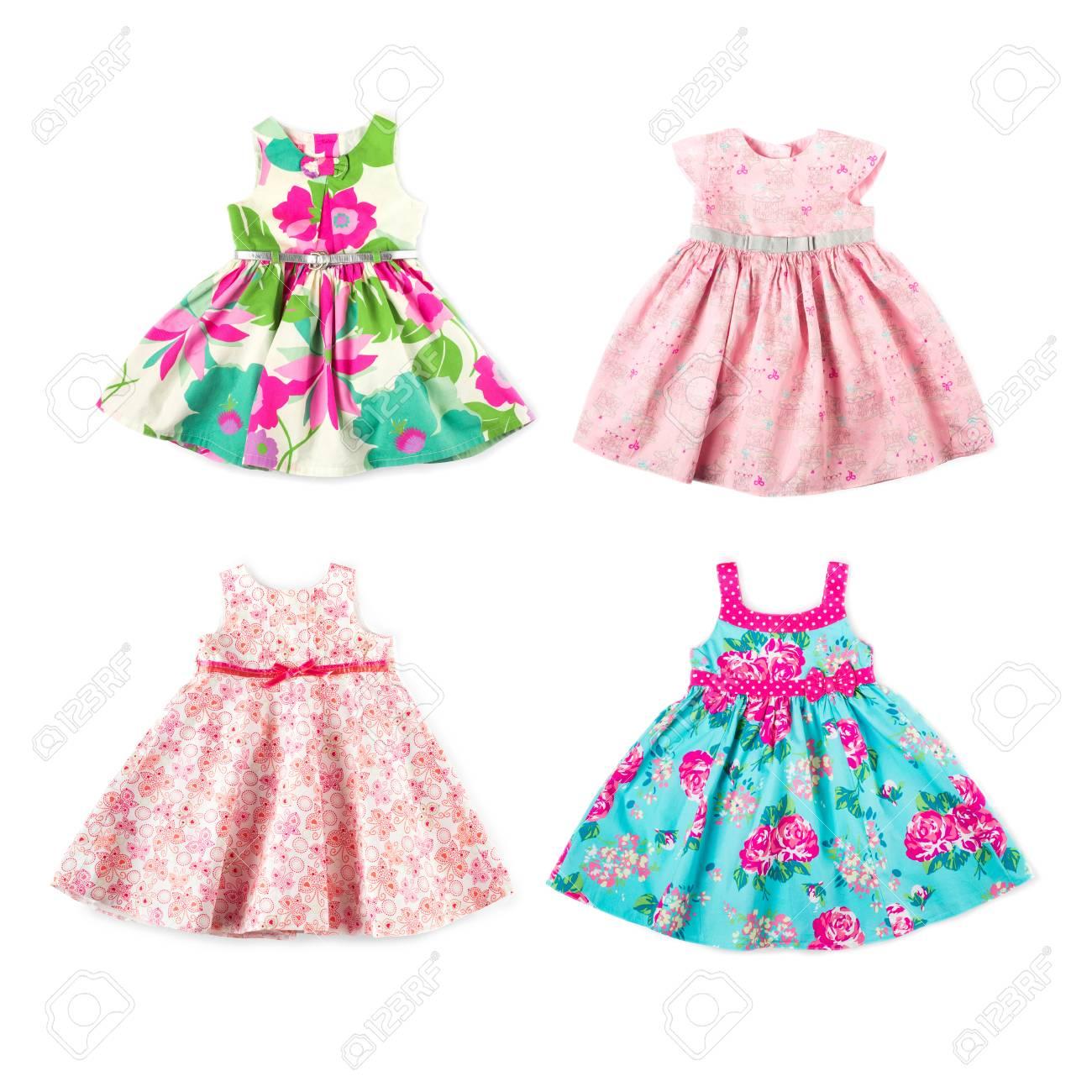 d77245b11ca Banque d images - Ensemble de bébé fille belles robes d été brillant  élégant isolé sur fond blanc