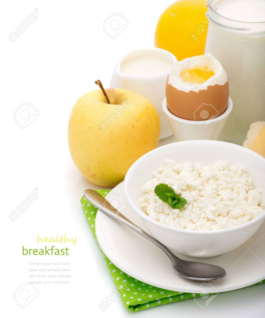 Healthy Delicious Breakfast Of Dairy Products, Cottage Cheese, Boiled Eggs,  Yogurt, Cream