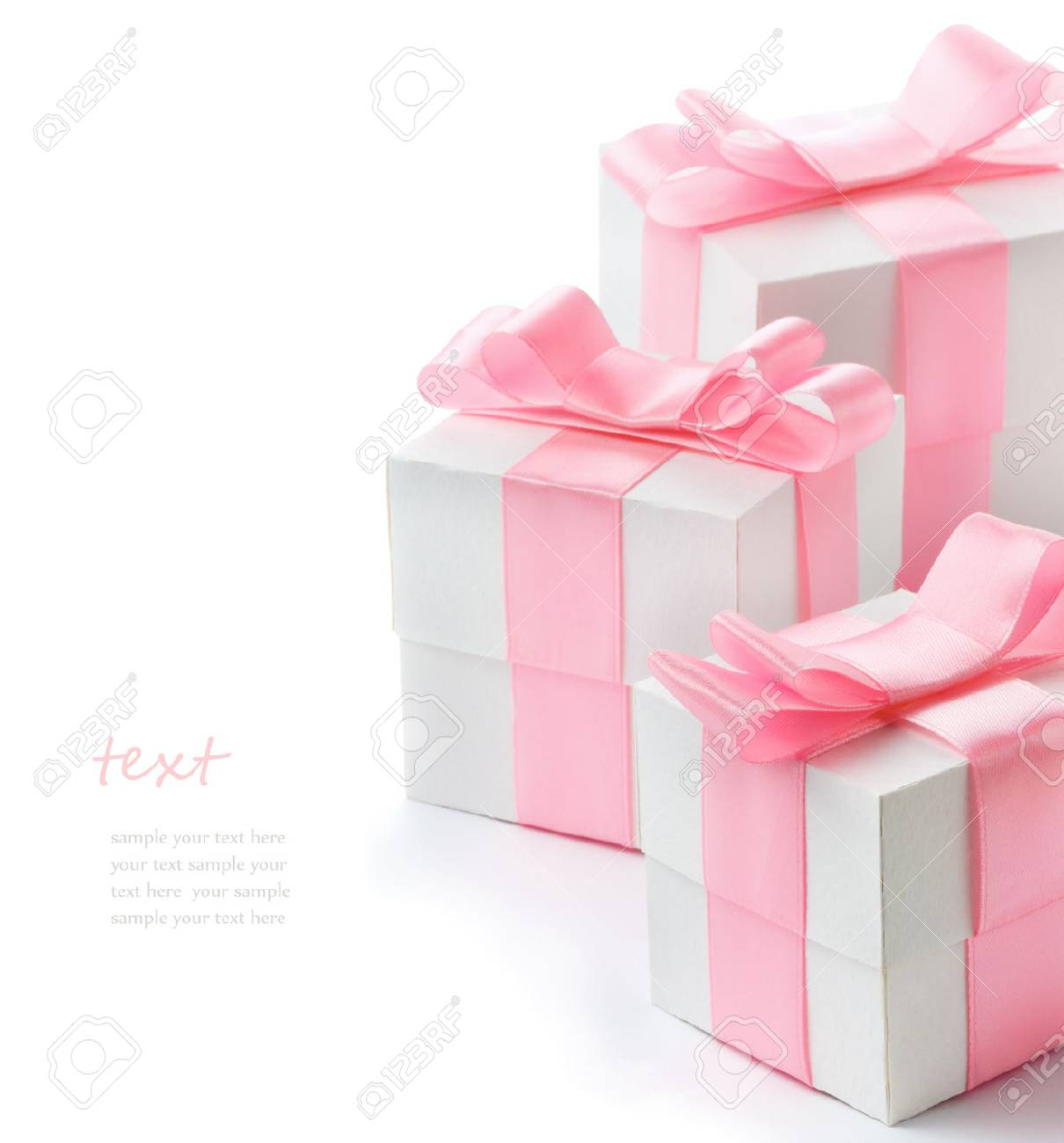 Gift white box with pink satin ribbon isolated on white background, congratulations on Women's Day, mum's day, Valentine's day, happy birthday - 53110195