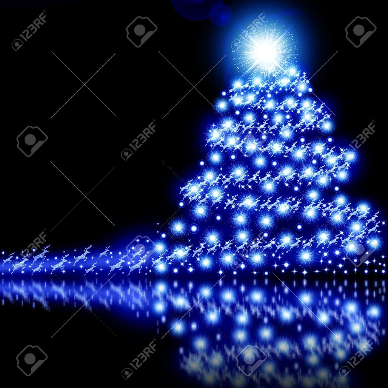 Blue Christmas tree background isolated on black Stock Photo - 15321294