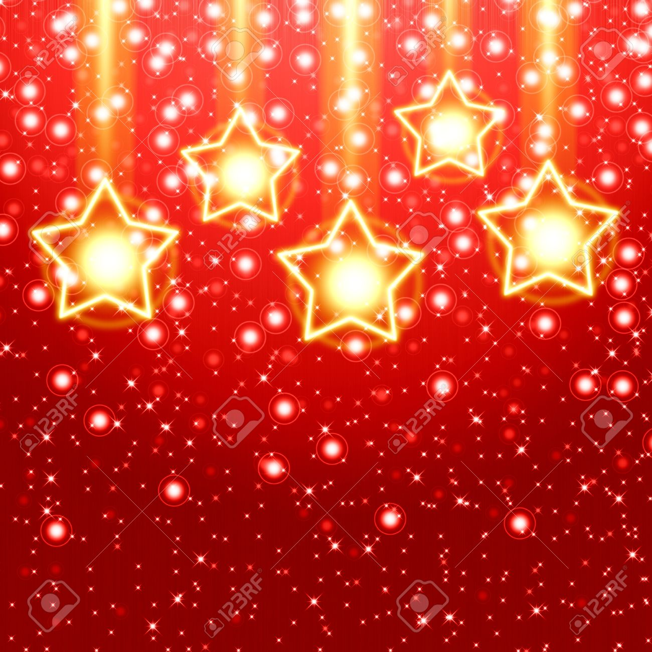 Red Christmas Background With Golden Star Stock Photo, Picture And ...