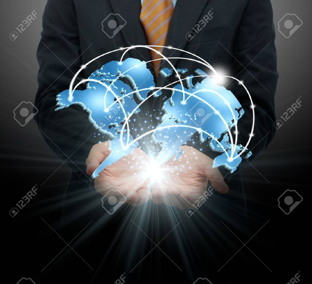 Businessman holding global business Stock Photo - 15321091