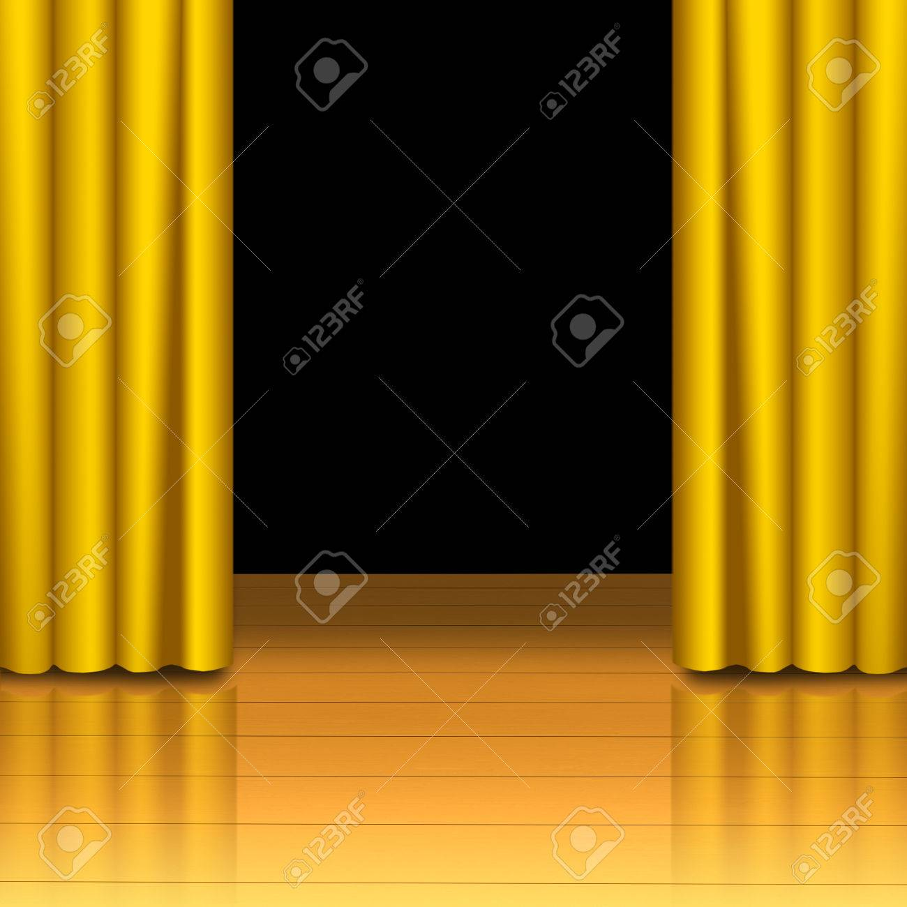 Open black curtain - Open Black Curtain Golden Curtain Open On Wood Stage With Black Isolated Stock Photo 23772545