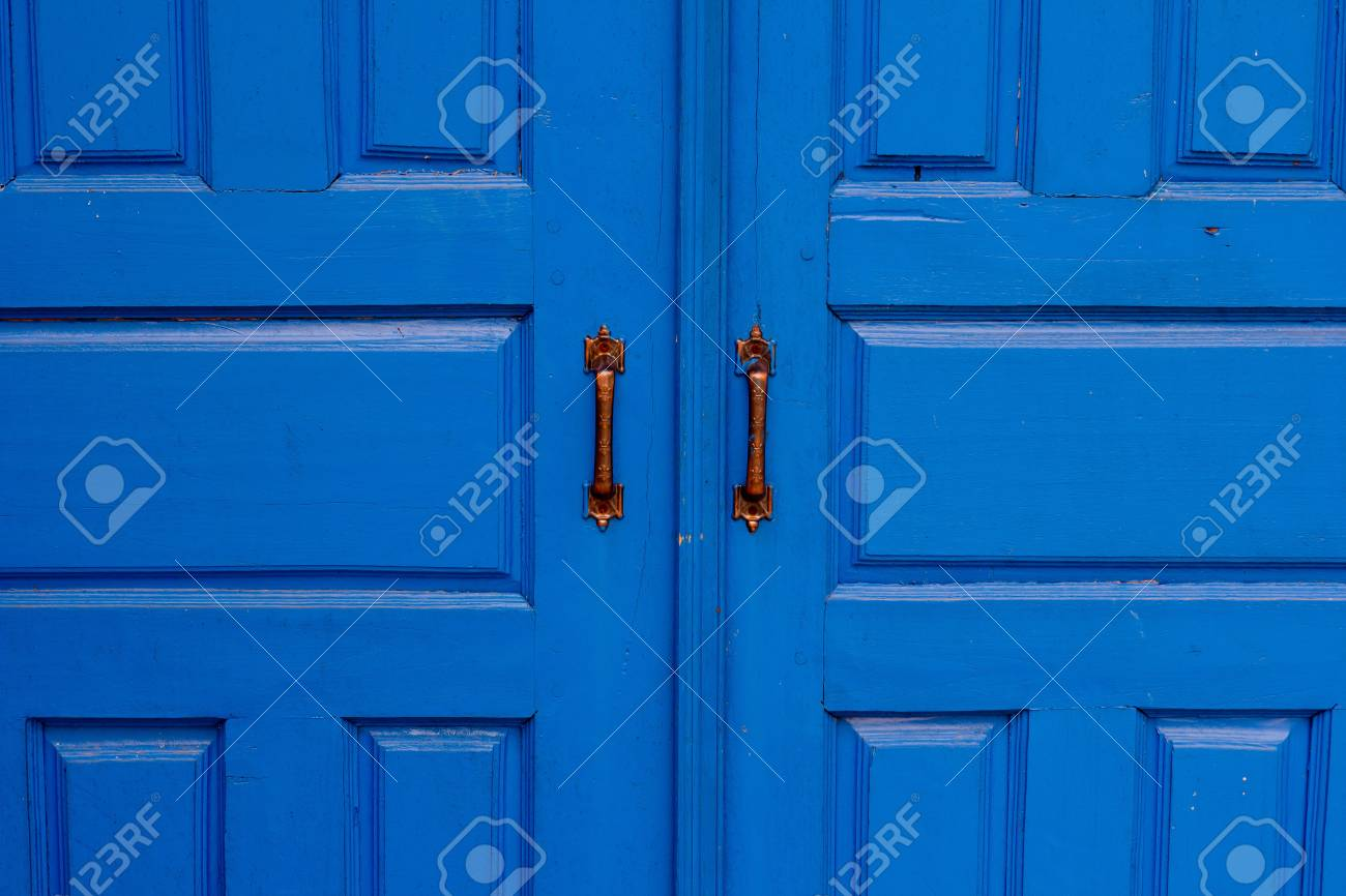 The doors made of wood painted blue Stock Photo - 12994951