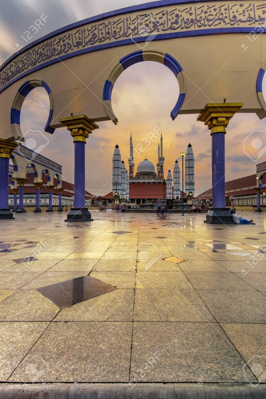 Sunset At Masjid Agung Jawa Tengah Stock Photo Picture And