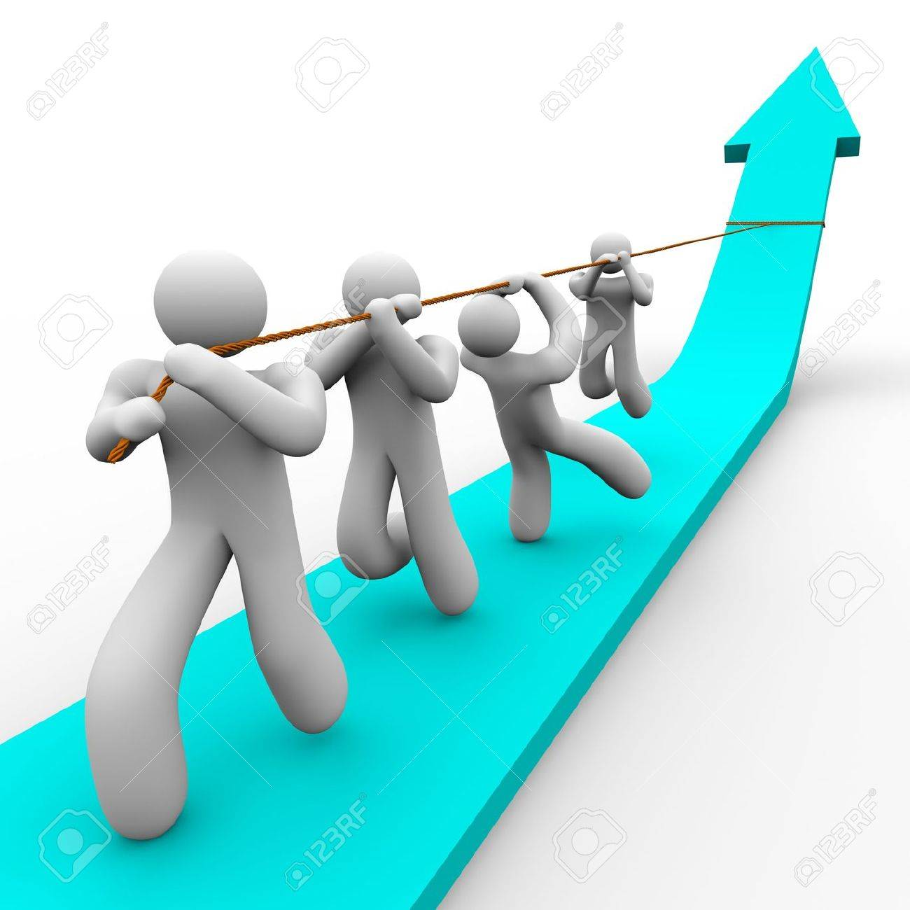 A team works together to pull up a growth arrow Stock Photo - 4182608