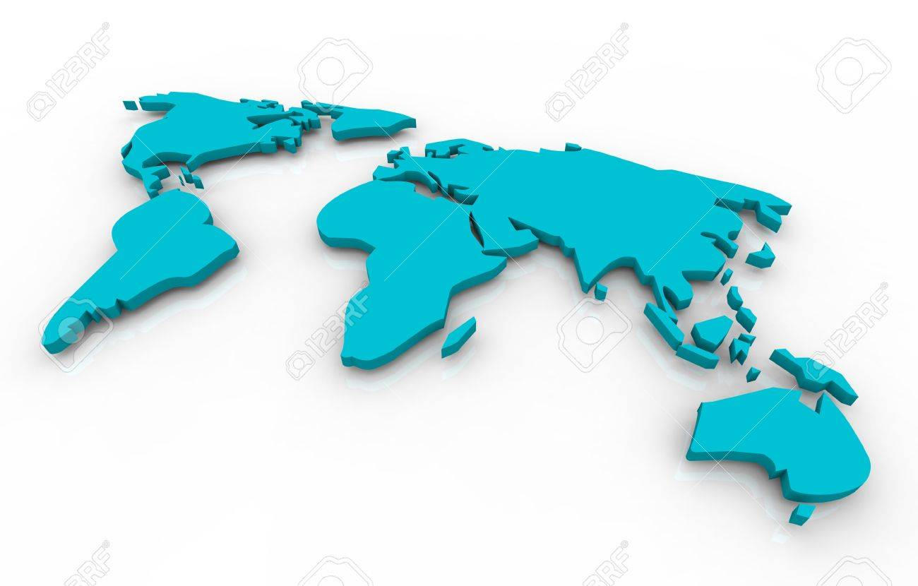 A blue map of the world floating on a white background Stock Photo - 4182570