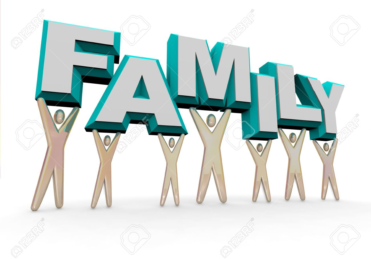 A Set Of Figures Representing A Familly Lifting The Word FAMILY ...