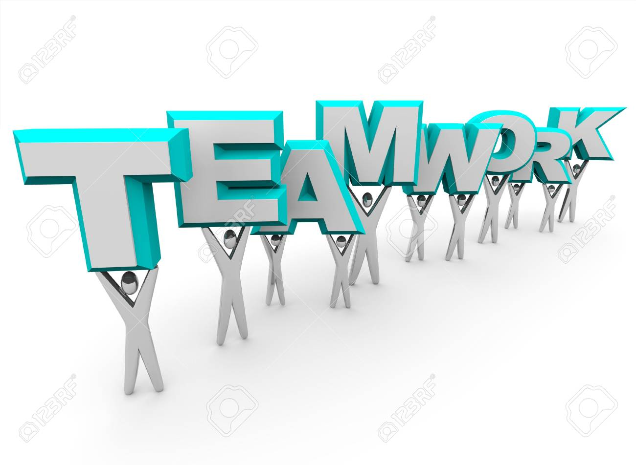 A team of people lift the word Teamwork Stock Photo - 4272803