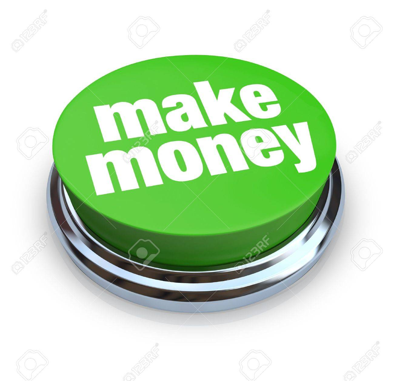 A round, green button on a white background reading Make Money Stock Photo - 4593836