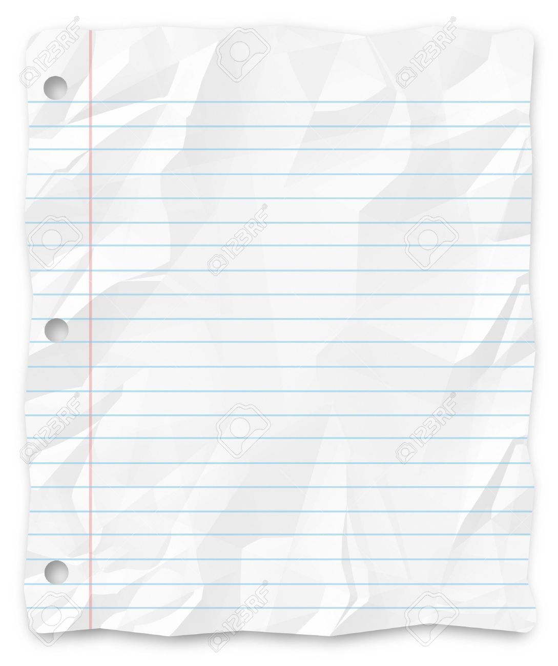a white, wrinkled piece of lined school paper background for.. stock