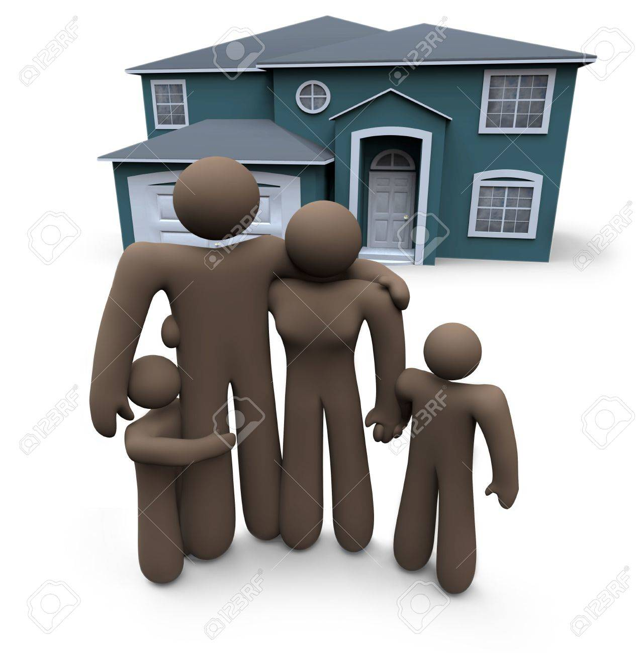 An African American family stands in front of their home Stock Photo - 5100189