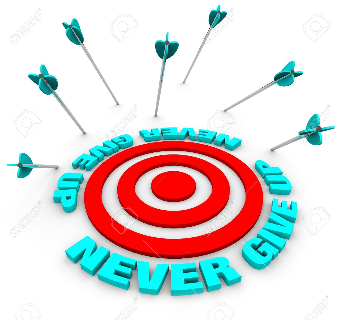 Many arrows miss a bulls-eye, surrounded by the words Never Give Up Stock Photo - 5518899
