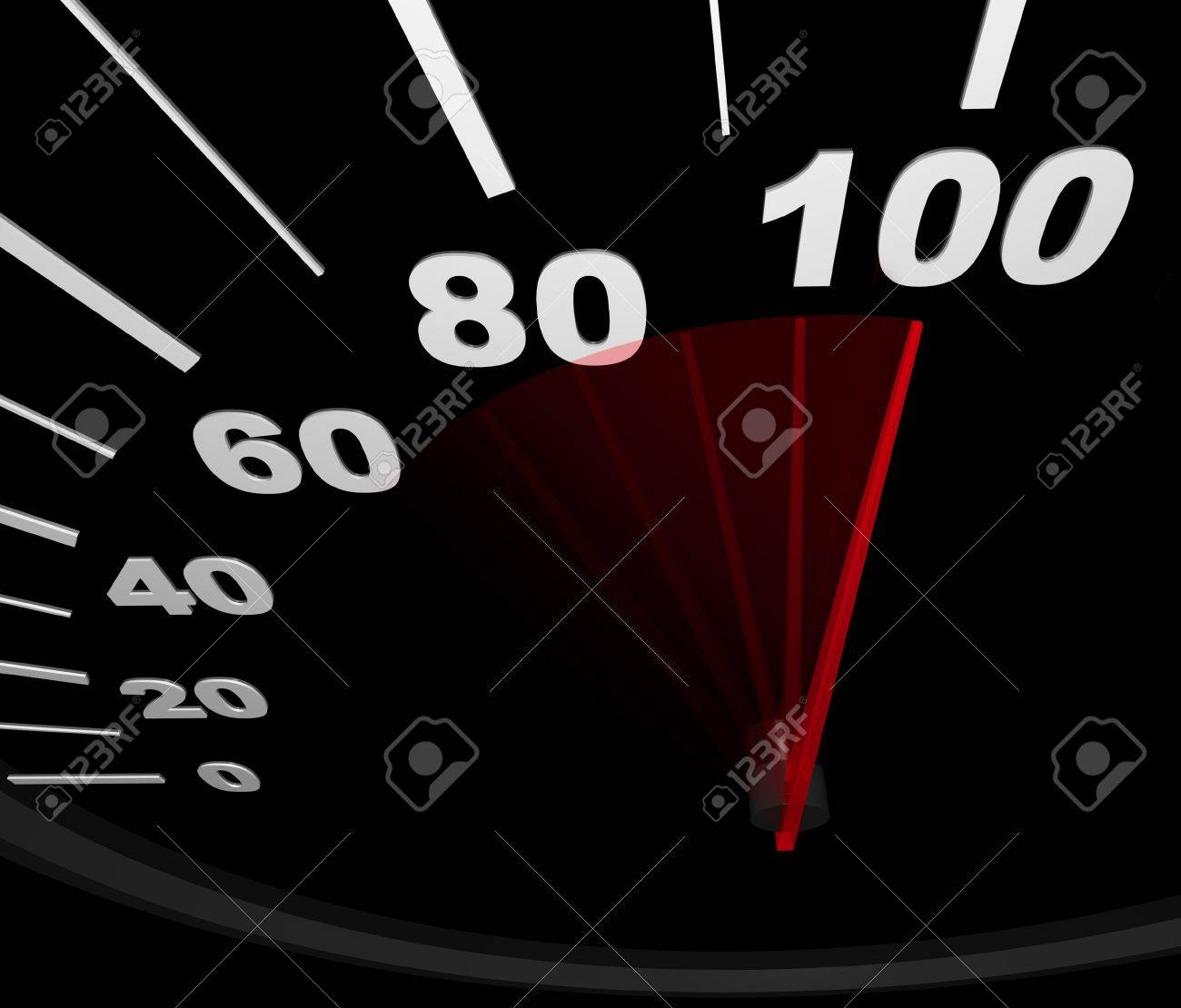 A Speedometer With Red Needle Pointing To 100 Miles Per Hour Stock ...