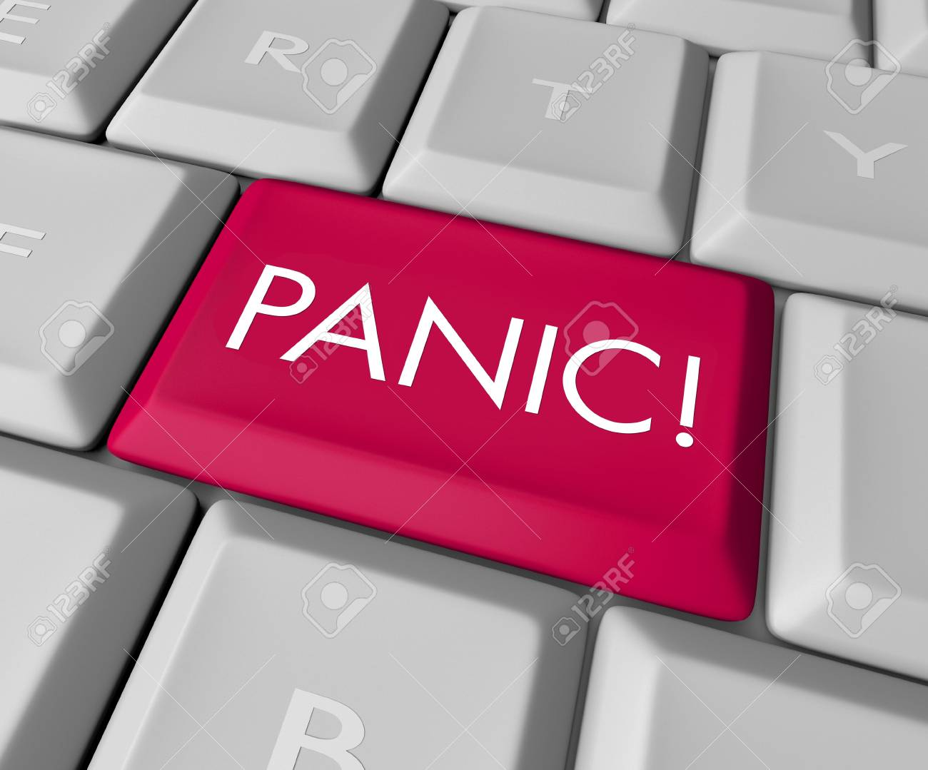 A keyboard with a red key reading Panic Stock Photo - 5741798