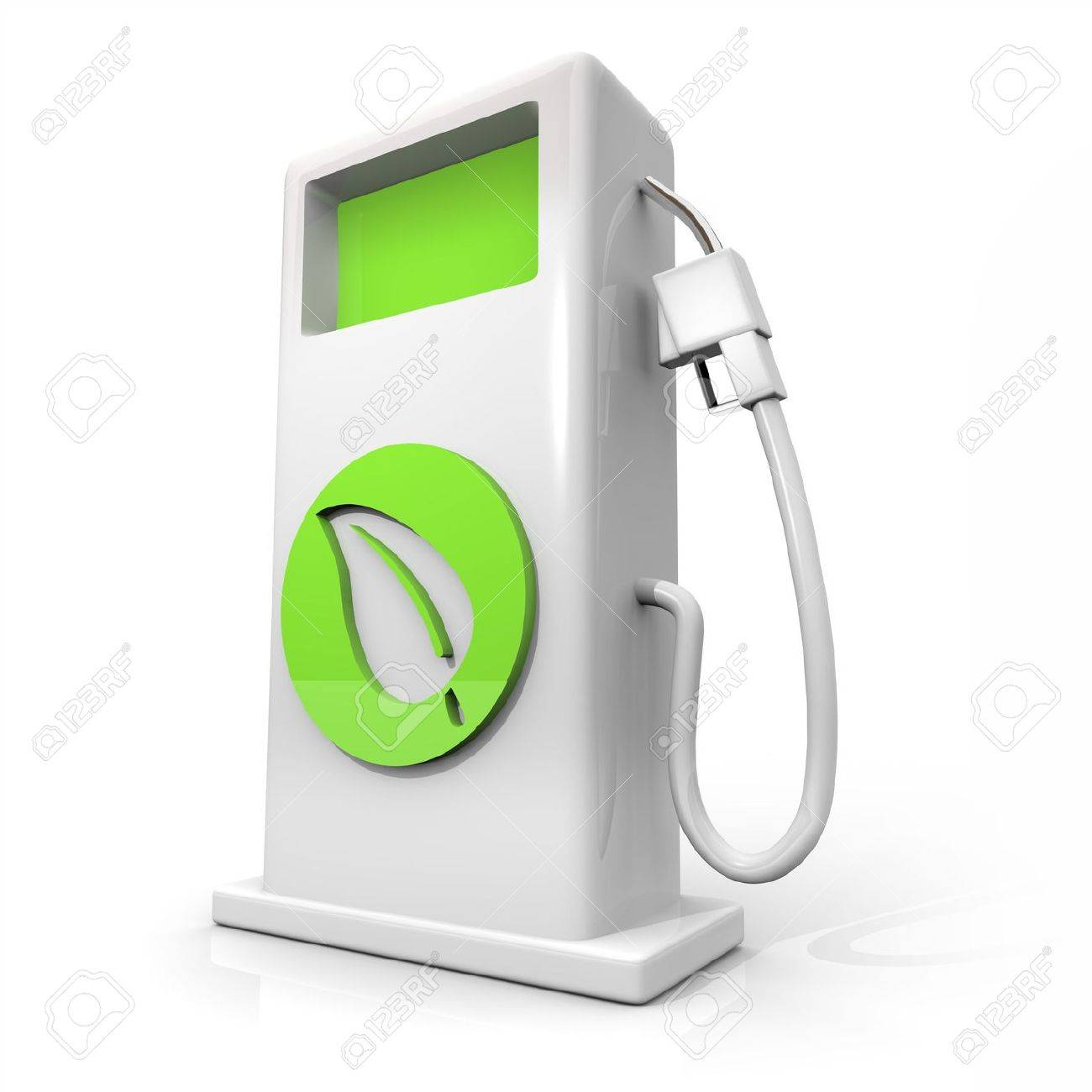 A white pump of alternative fuel with a green leaf symbol on it symbolizing earth friendliness Stock Photo - 5754867
