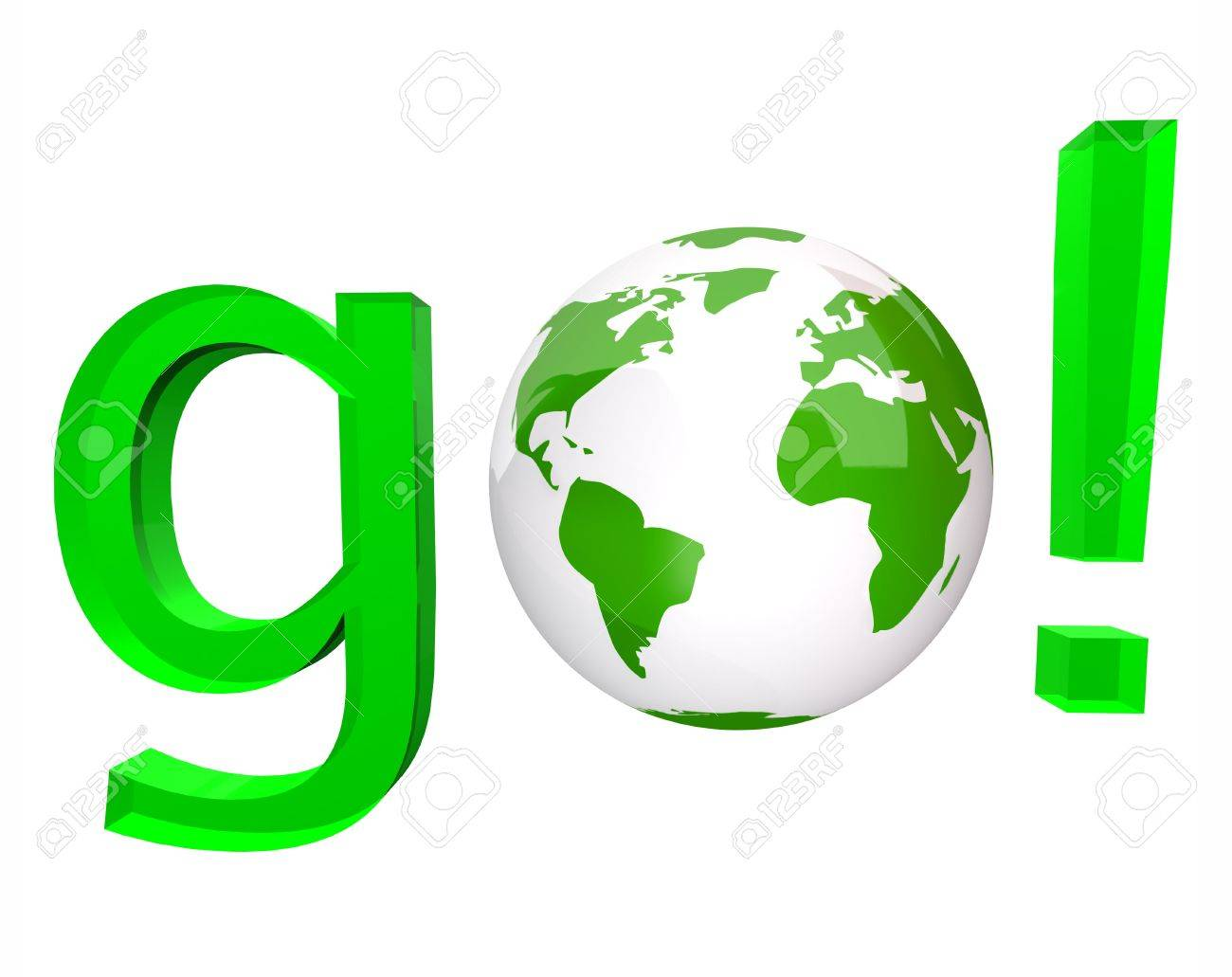 A white globe replaces the O in the green word go - 5785437