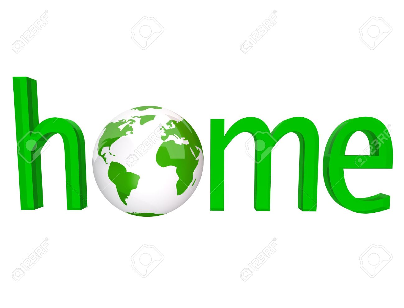 stock photo the word home in green letters with the planet earth in place of the o